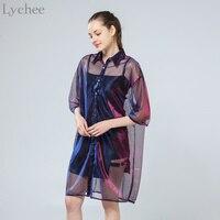 Lychee Yaz Kadın Bluz Şeffaf Mesh Lazer Sunproof Güneş Kremi Yarım Kollu Gömlek Tops