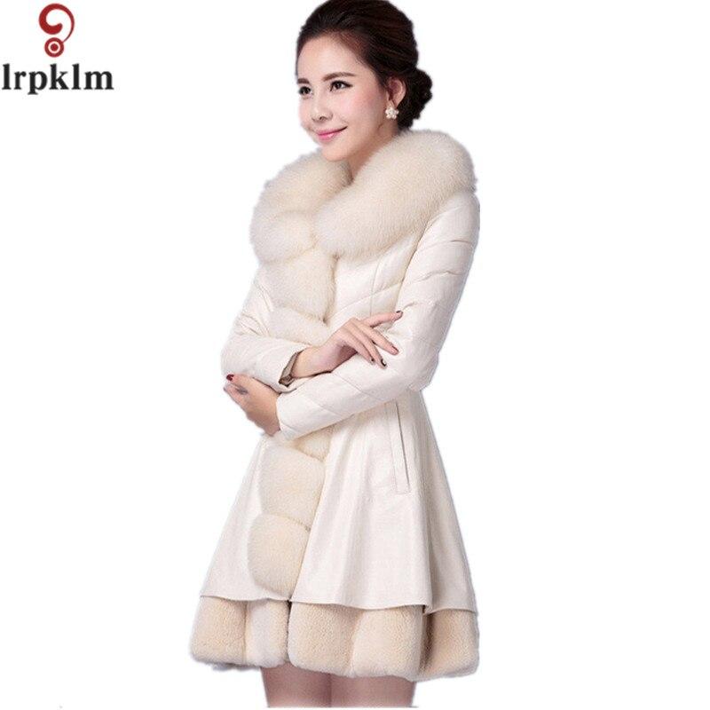 09d0638b294 2017 Hot Sale Luxury Women s Faux Fur Coat PU Leather Outerwear Winter  Thick Warm Long Sleeve