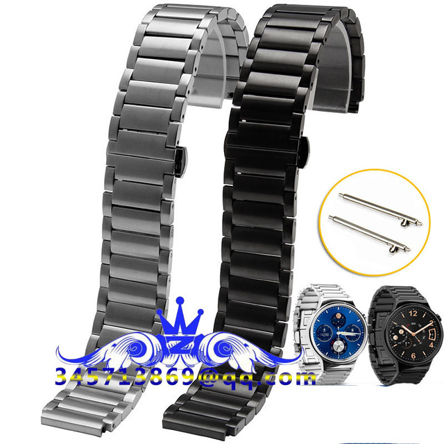 Free shipping Luxury 316L watchband straps band metal Link For huawei smart watch stainless steel bracelet loop Black Silver