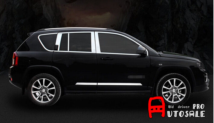 For Jeep Compass 2011 2012 2013 2014 2015 18pcs Top Bottom Middle Window full around cover with center pillar Trim