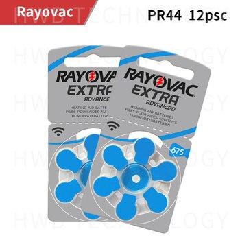 12 unids/lote Rayovac audífono 675, 1,4 V, Zinc-aire botón A675 E675 PR44 DA675 PR675H AC-675E AC675 b675PA