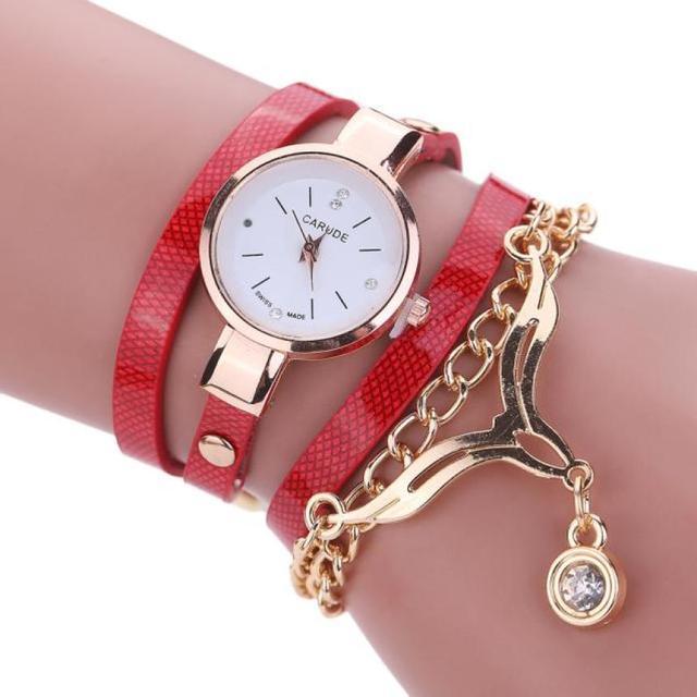 Fashion Leisure Watches Women Elegant Bracelet Watch Female Leather Rhinestone A