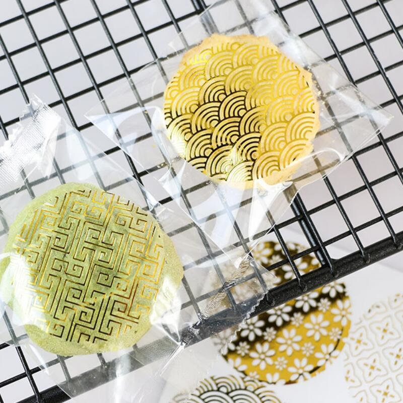 90pcs lot diameter 4cm round hot foil gold seal sticker transparent pattern series DIY multifunction gift label baking sticker in Stationery Stickers from Office School Supplies