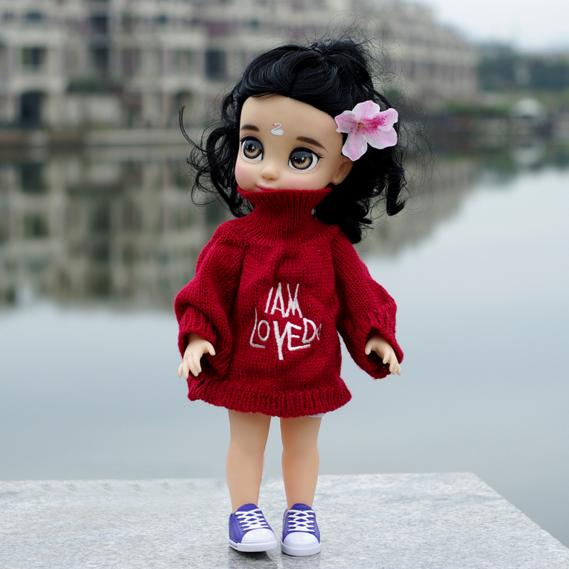fashion Doll Clothes Wear fit 35-46CM Doll red high collar sweater girl gift Play House  ...