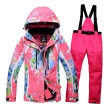2016 al aire libre a prueba de viento impermeables trajes de esquí las mujeres chaqueta y pantalones de esquí de invierno gruesa ropa deportiva envío libre hidratante