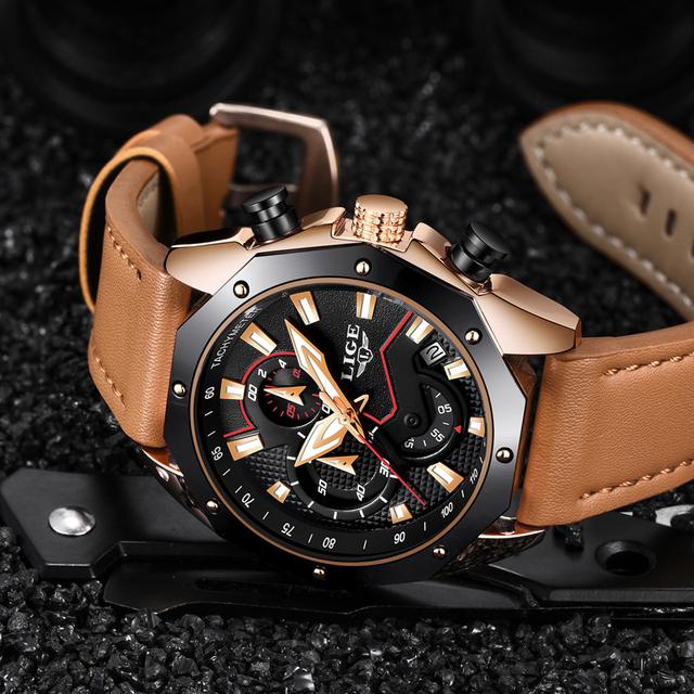 Mens Watches Top Brand Luxury LIGE Men's Military Sports Quartz Watch Men Casual Leather Waterproof Wristwatch Relogio Masculino