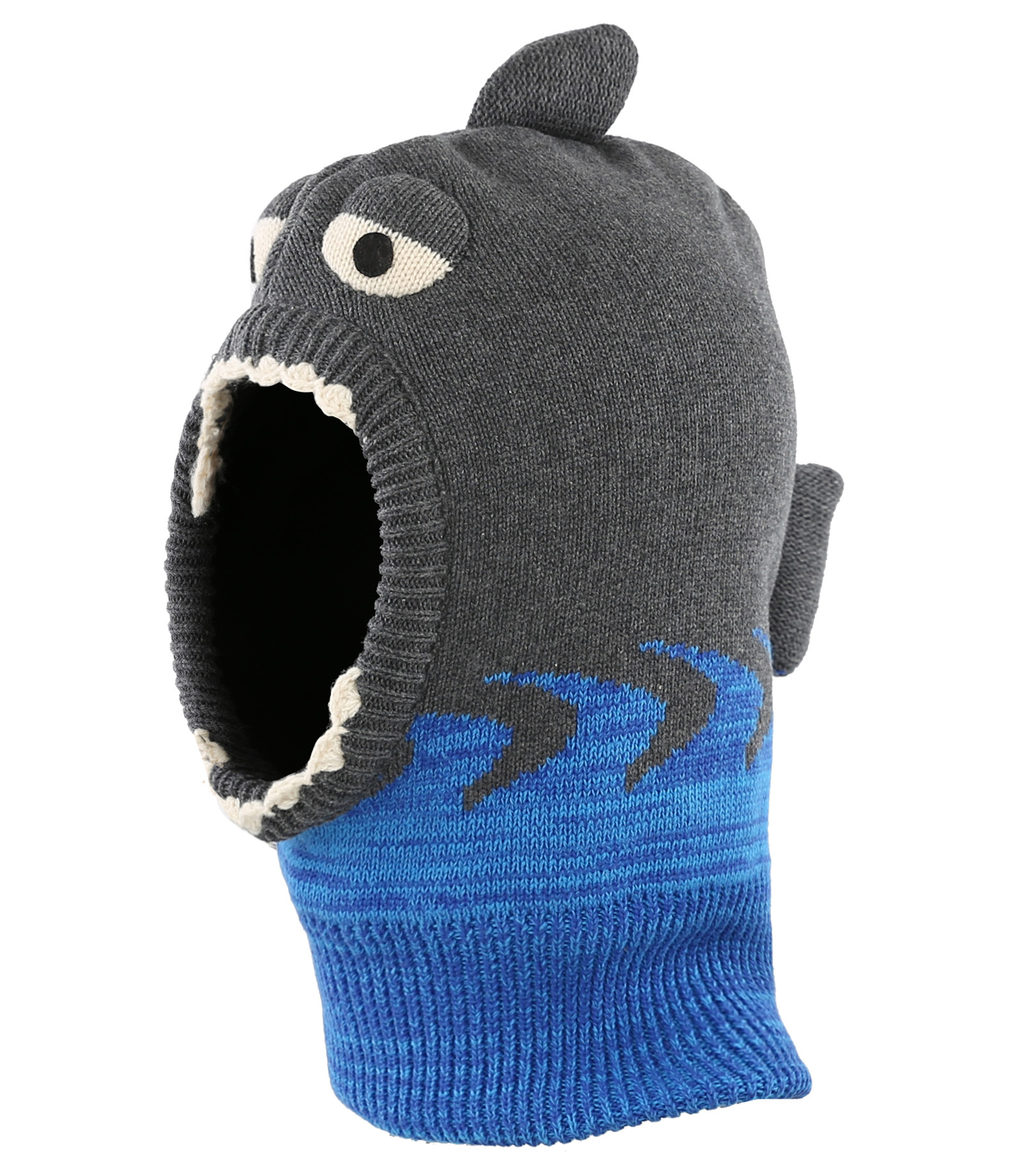 Connectyle Toddler Boys Girls Knit Winter Warm Hats Cute Cartoon Shark Fleece Lined Hood Scarf Beanies Hat For Kids