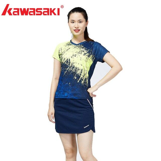 Original Kawasaki Brands 2018 New Badminton Clothes Sportswear Shirts For  Women V,Neck Breathable Bright Color Badminton Sport