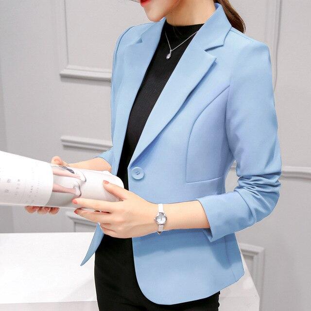 2018 Women's Blazer Pink Long Sleeve Blazers Solid One Button Coat Slim Office Lady Jacket Female Tops Suit Blazer Femme Jackets 3