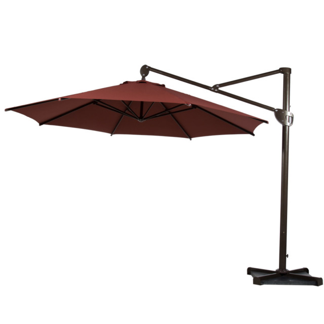 Abba Patio 11 Feet Octagon Offset Cantilever Umbrella With Vertical Tilt And Cross Base
