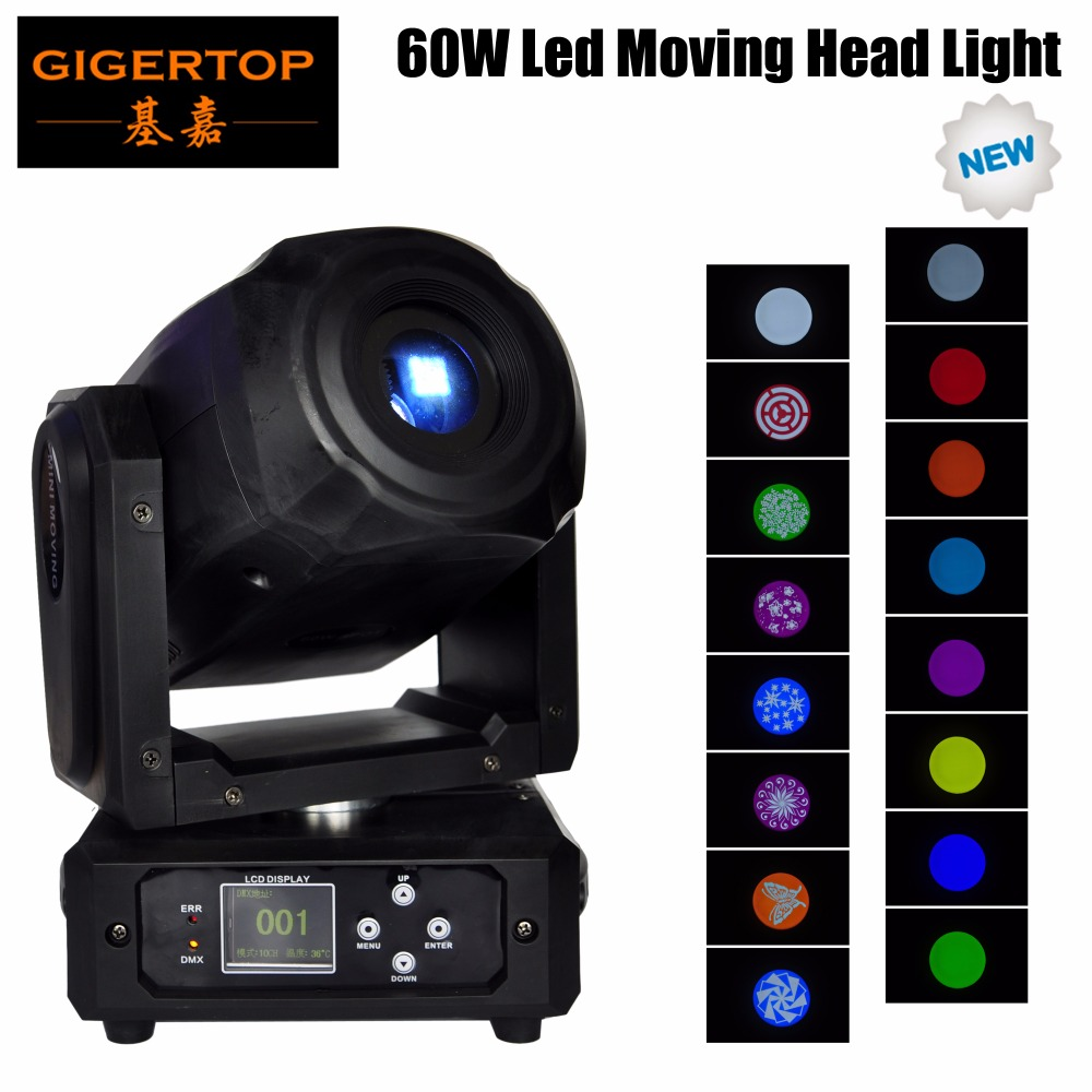 Gigertop TP-L60N uusi muotoilu 60W led-liikkuva pää, kevyt lasi, gobo-pyörä, kukkakuvio 3-puolinen prisma DMX 10/15 -kanavat, mini koko
