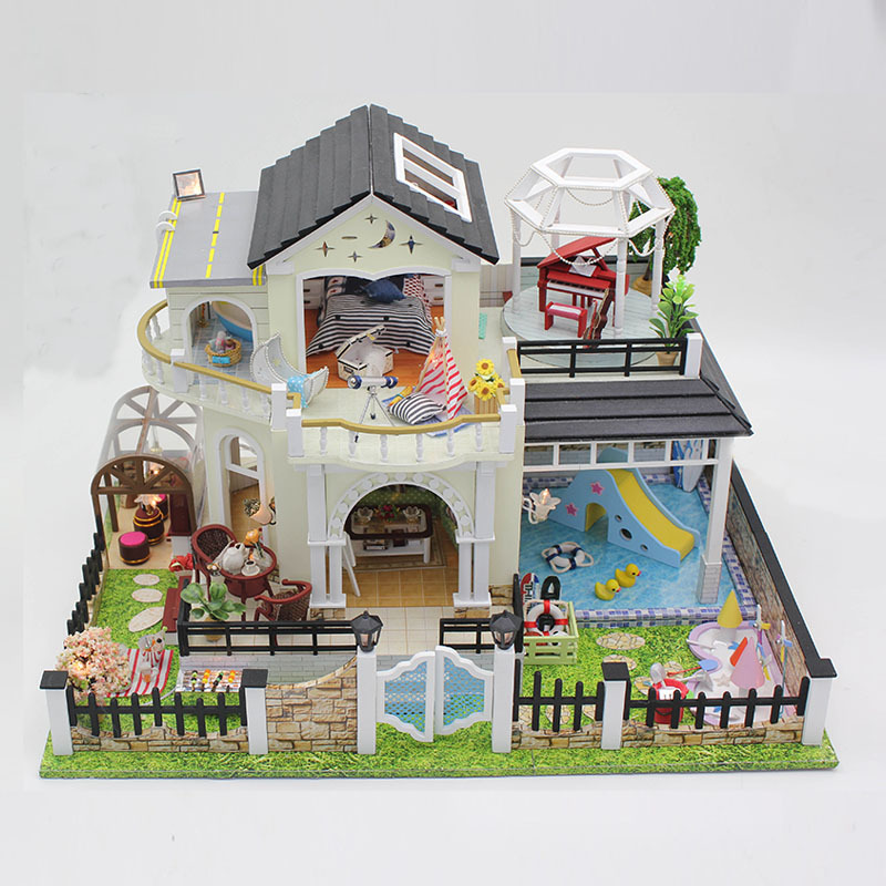 Miniature Garden Pool Villa Craft Model Wooden Dollhouse Furniture With LED Lights DIY Doll House Puzzle Toy Xmas Birthday Gift