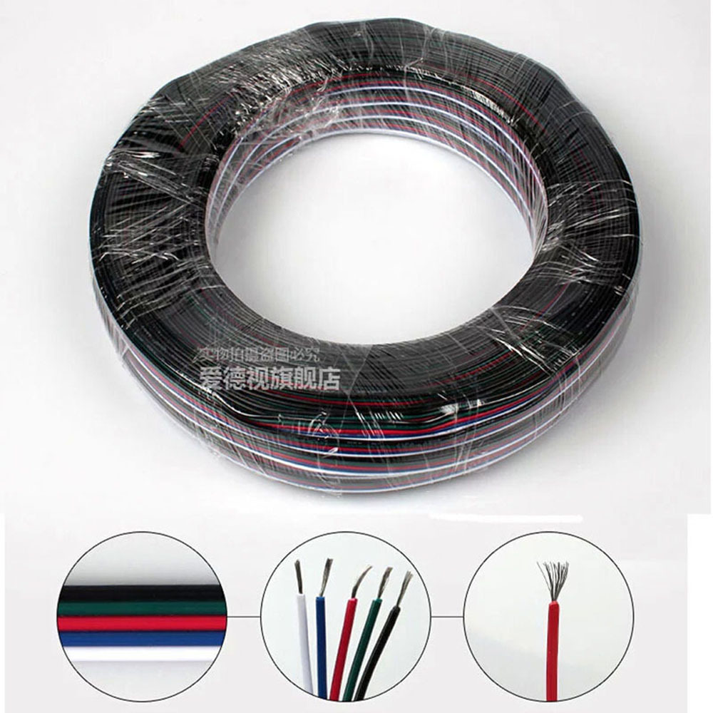 5m 10m 20m 30m 4 Pin Rgb Led Wire Cable Extension Wiring Cord For Rgbw Single Color 5050 3528 Strip Light In Strips From Lights