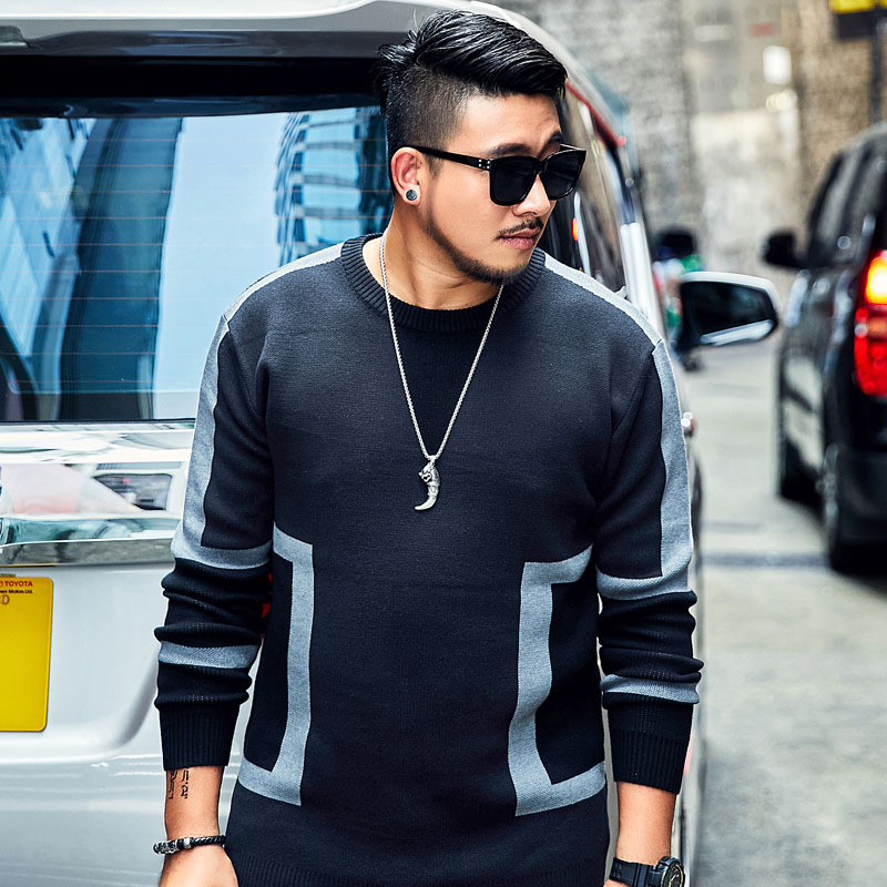 2018 tide brand Large size XXL 6XL 7XL Men s Black Sweater Autumn Loose Geometric pattern