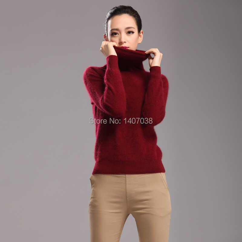 Tailor sheep 2018 novo 100% puro mink cashmere suéter feminino gola alta pulôver feminino grosso quente macio camisola hedging