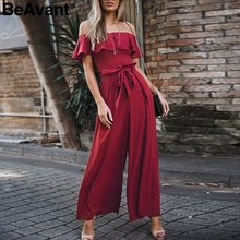 BeAvant Off shoulder long rompers women jumpsuits Elegant ruffles wide leg summer jumpsuit High waist chiffon