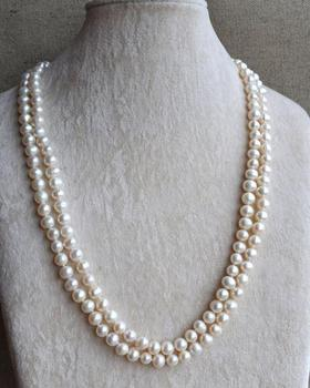 46 inches Long Pearl Necklace,7-8mm White Color Freshwater Pearl Necklace,Wedding Pearl Jewellery