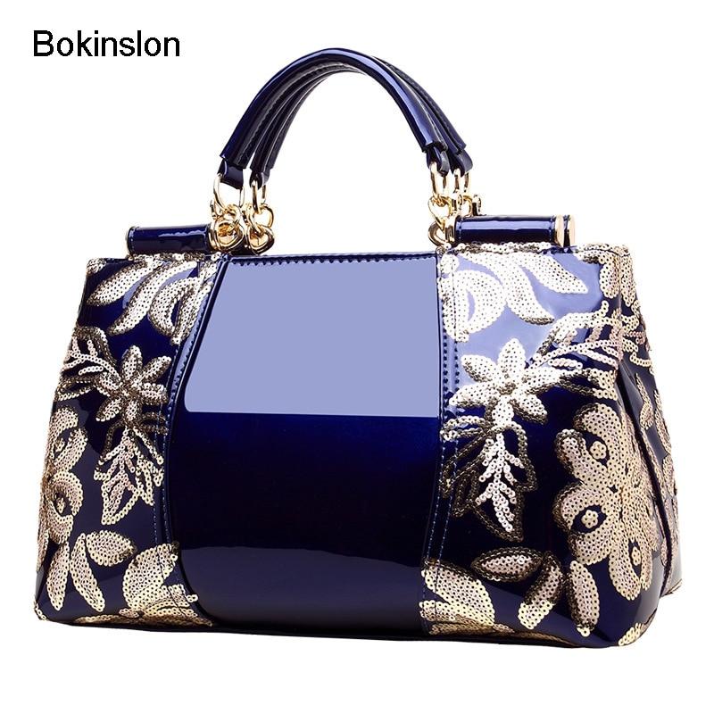 Bokinslon Brand Handbags Womans Embroidery Ladies Handbags Bags Elegant Fashion Patent Leather Shoulder Bags FemaleBokinslon Brand Handbags Womans Embroidery Ladies Handbags Bags Elegant Fashion Patent Leather Shoulder Bags Female
