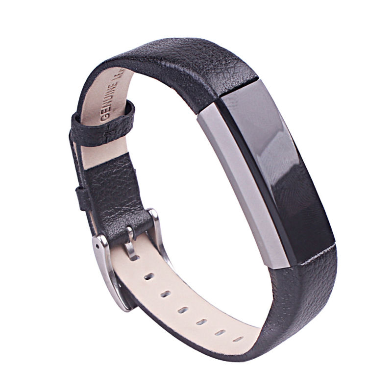 For Fitbit Alta Leather Bands Metal Buckle Genuine Leather Replacement Wrist Bands For Alta Prevent the Tracker Fall Off ,Black