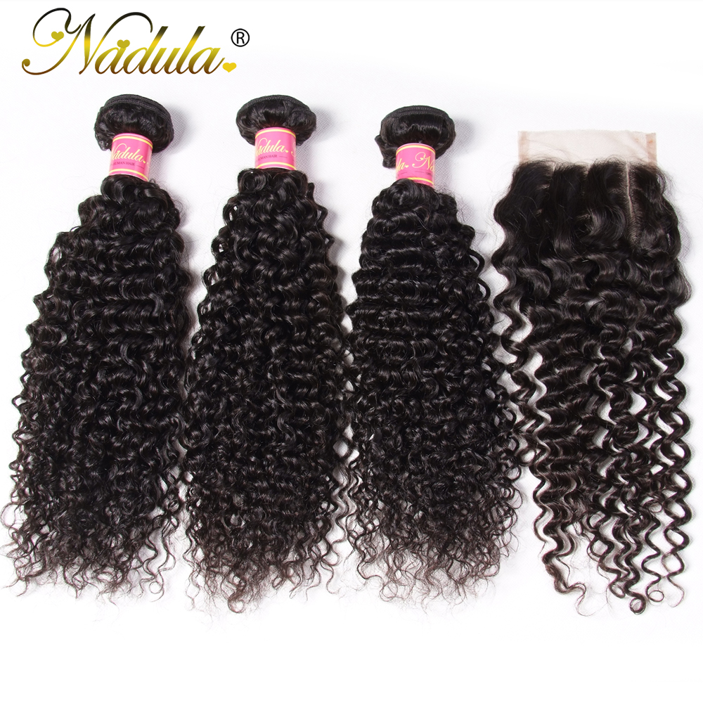 Nadula Hair 4/3 Bundles With Closure  Curly Hair Bundles With 4*4 Lace Closure 100%  Hair s Natural Color 3