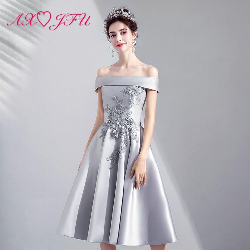 AXJFU grey beading flower   Evening     dress  , new spring summer, Korean version toast girl grey princess lace   evening     dress   9196