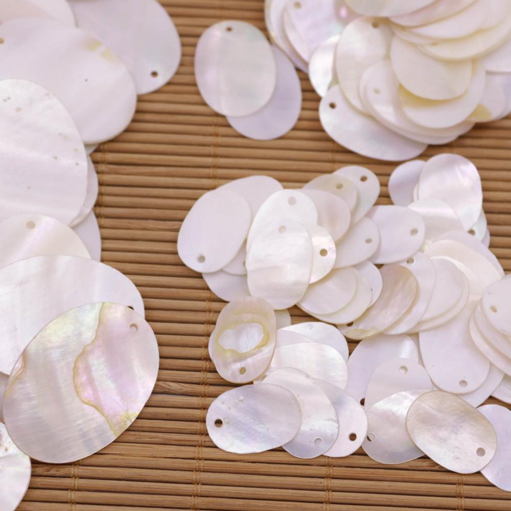 Купить с кэшбэком 50 PCS Oval Shell Natural White Mother of Pearl 13X19mm 18X25mm 25X35mm Choose