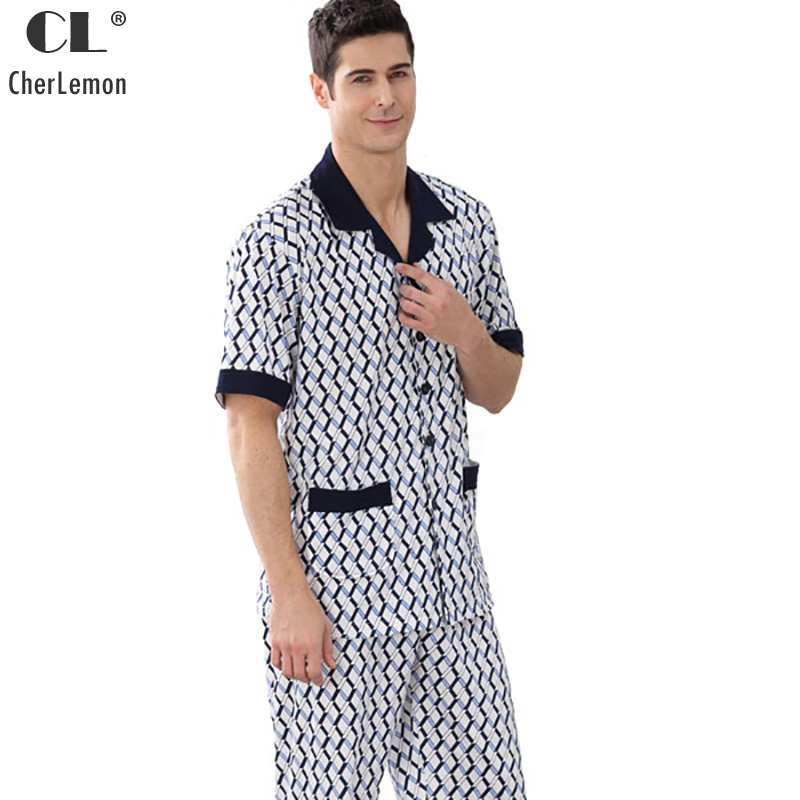 CherLemon New Mens Summer Knitted Cotton Pajama Sets Male Short Sleeve Geometric Pattern Casual Homewear Large Size Sleepwear