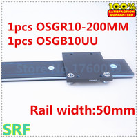 50mm width Aluminum roller linear guide rail external dual axis linear guide 1pcs OSGR10 L=200mm+1pcs OSGB10 block