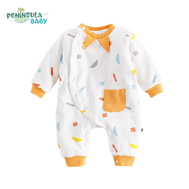 Unisex Baby Jumpsuit Autumn Winter Girl Boy Rompers Lovely Long Sleeves Kids Clothing O-Neck Cotton Infant Overalls With Pocket newborn baby rompers baby clothing 100% cotton infant jumpsuit ropa bebe long sleeve girl boys rompers costumes baby romper