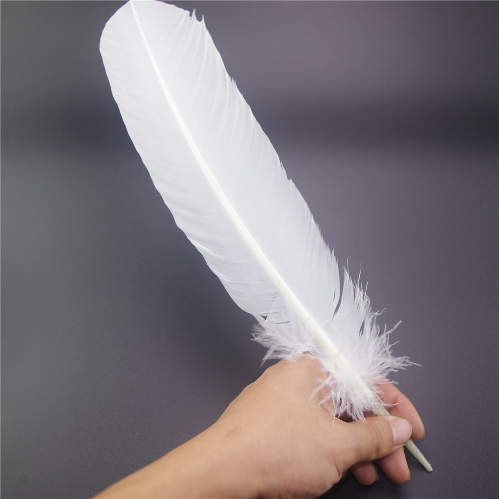 25 30cm 50pcs Lot Pure White Swan 10 12inch Goose Feather Plumes Party Hat Decorations Feather Quill Pen In Feather From Home Amp Garden On