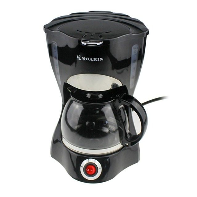 Automatic Drip Coffee Maker Mini Household Coffee Tea Machine With Glass Pot & Filter Portable Electric Cafeteria Maker