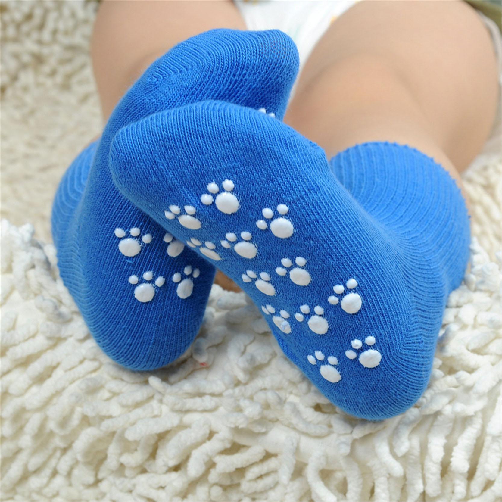 New Born Baby Stocks Cotton Anti Slip Stoking yang Nyaman Untuk Gadis Boys Unisex Toddler 1-3 Tahun Kanak-kanak Socks Candy Warna Pepejal