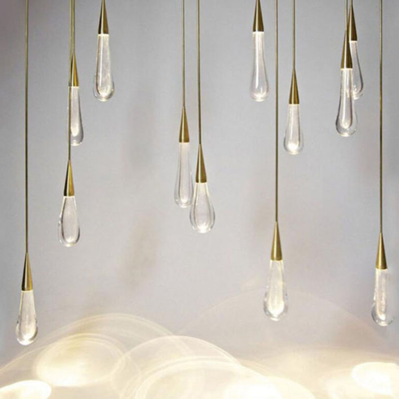 Gold Water Drop Crystal Pendant Light Creative European-style Luxury LED Lamps DIY Suspend Lamp Modern Indoor Lighting Bar Lamp