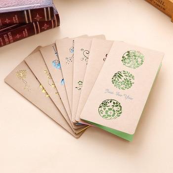 Tarjetas de Felicitación plegables de papel Kraft, 10 Uds., los mejores deseos, tarjeta de mensaje de bendición felicitación de cumpleaños, suministros artesanales para eventos y fiestas