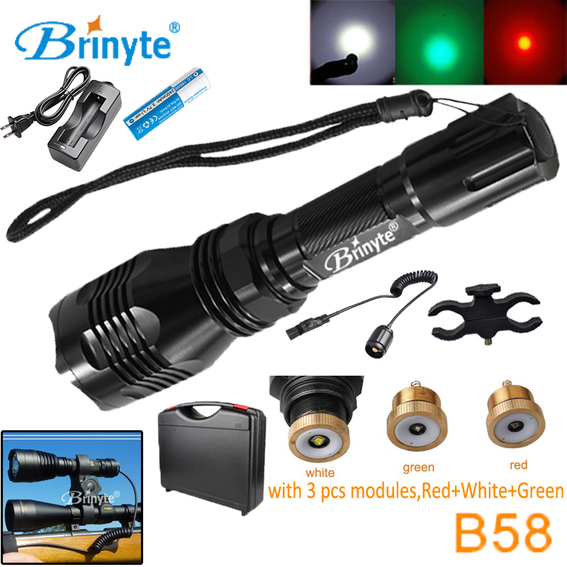 Brinyte B58 High Power Military Flashlight Torch with RED GREEN WHITE Module Rechargeable 18650 Mount Pressure Switch Flashlight brinyte s48 high power 1500 lumens 5 cree xr e q5 led police security flashlight military torch light with remote switch 18650