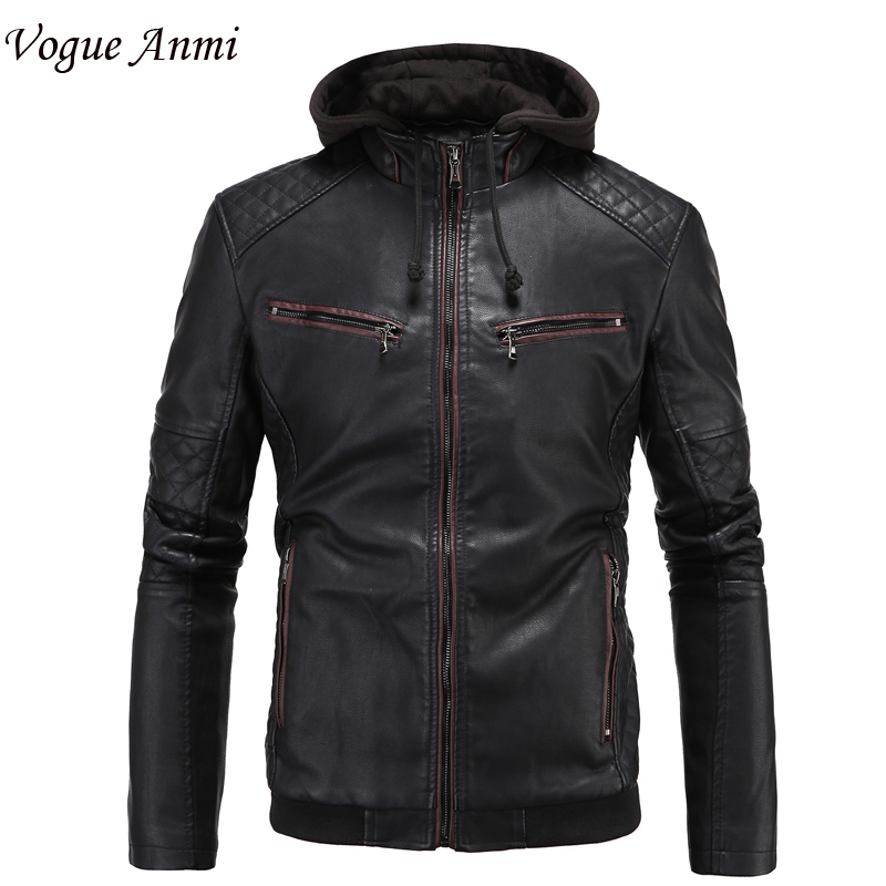 Vogue Anmi.Leather Jacket Men hooded Jaqueta De Couro Masculina PU Mens Leather Jackets Men Slim Fit Thick Coat