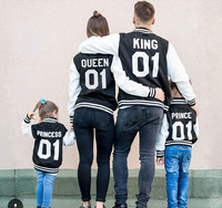 Family Clothing Mother And Daughter Father Son Winter Autumn Black Jacket King Queen Prince Princess Family