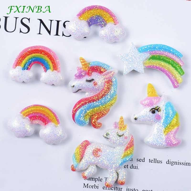 FXINBA 5Pcs/Lot Resin Glitter Rainbow Unicorn Charms For Slime Clay DIY Flatback Charms Cake Phone Decor Slime Supplies Kit Toys