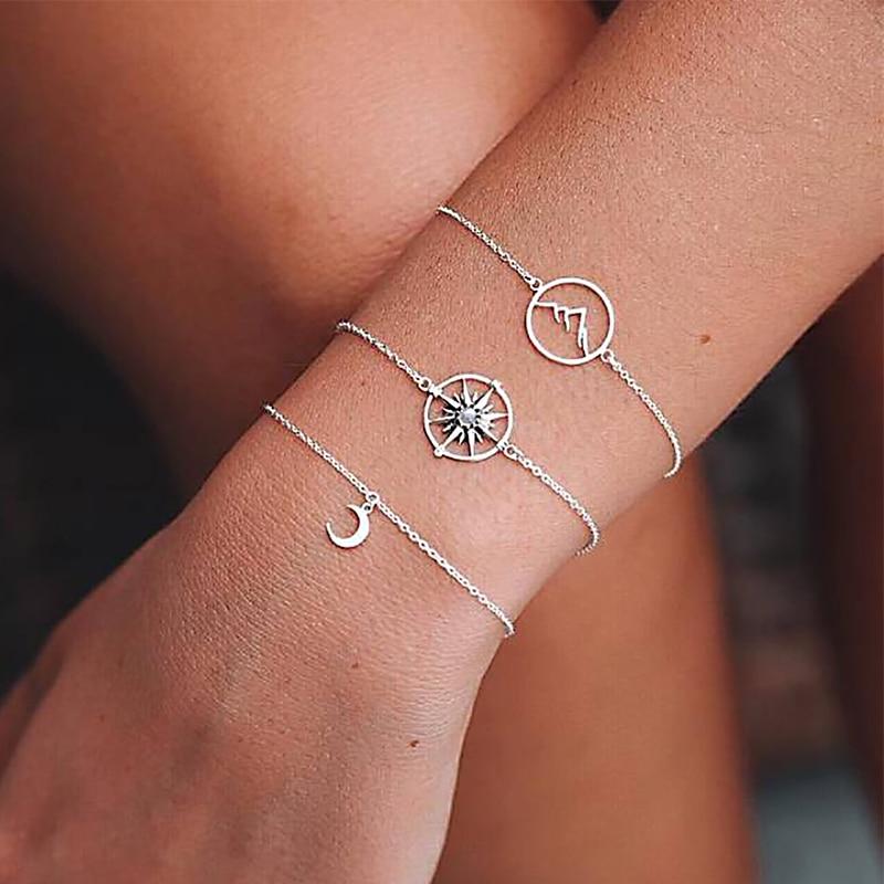3 Pcs/ Set Creative Compass Mountain Peak Moon Gem Chain Pendant Multilayer Silver Bracelet Set Personality Punk Jewelry