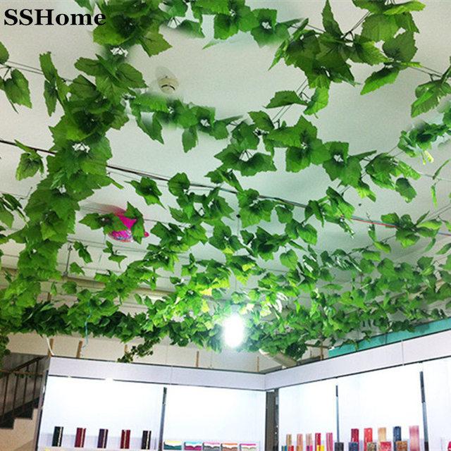 Artificial Plants Green Grape Vine Leaves For Home Restaurant Garden  Decoration Decor Silk Vines 12pcs/