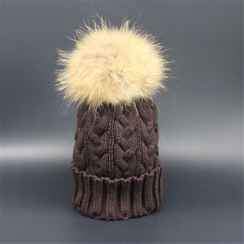 Knitted Beanies Hat Real Mink Fur Ball Caps Winter Hats For Women Warm Casual Female Cap Multi Colors Pom Poms touca inverno