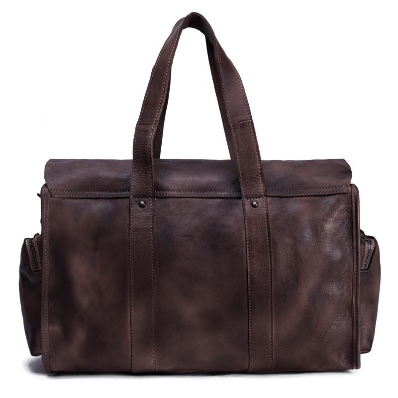 Handmade Vegetable Tanned Leather Tote Bag Travel Bag Overnight Bag 4