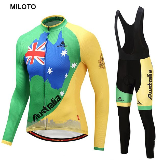 Australia Miloto Men Long Sleeve Men Cycling Jersey Bike Jersey maillot  ciclismo roupa ciclismo cycling clothing Cycling set 62f84bb28