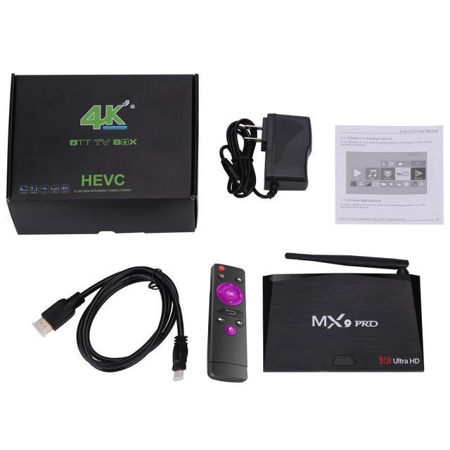MX9 Pro TV Box RK3328 64bit prise en charge TrueHD DTS sortie quad core 2 GB/4 GB Ram 16 GB/32 GB Rom codi17.0 Android 7.1 TV Box