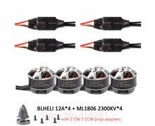 GARTT 4x ML 1806 2300kv Brushless Motor with prop adapter+ 4x 12A BLHELI ESC For FPV QAV 150 180 210 250 Quadcopter Drone