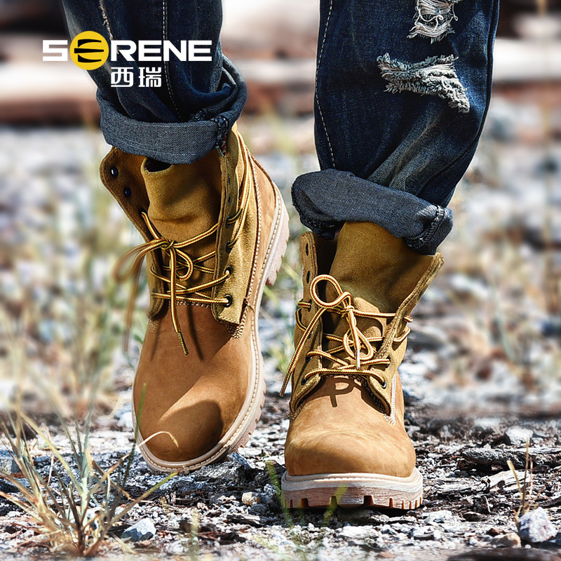 Men's Fashion Autumn Desert Boots Mid-calf Genuine Leather Shoes For Men Boys Breathable Lace-up Desert Solid Boot Male Footwear hot sale men fashion shoes breathable anti skit genuine leather ankle boots for men lace up comfortable desert boots yellow