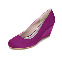 Elegant concise design woman dress shoes middle heel pumps beach wedding party bridal wedges royal blue champagne red silver