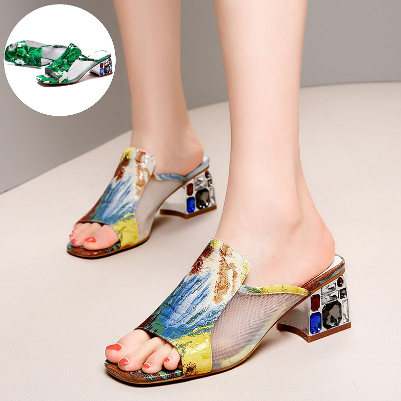 Women Summer Shoes Woman Slippers Flip Flops Home Slippers Genuine Leather