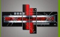 100% Hand-painted Red Black Cor Paixão Alta Q. casa Decoração Pintura A Óleo sobre Tela Abstrata Moderna Best-seller 4 pçs/set