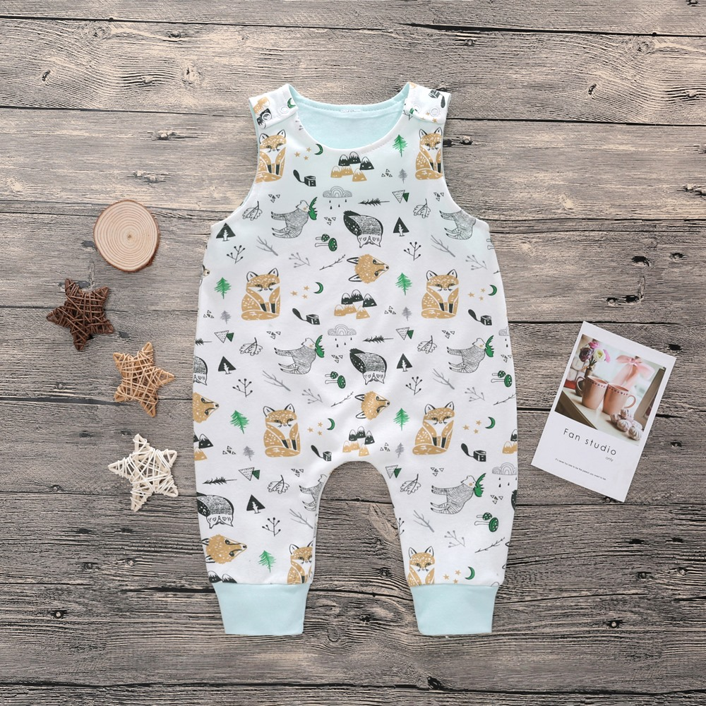 2018 New Newborn Baby Boys Girls   Romper   Tree Printed Sleeveless Summer Cotton   Romper   Kid Jumpsuit Playsuit Outfits Clothing Set